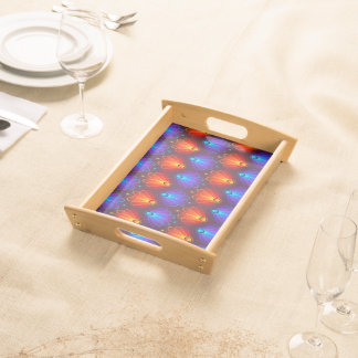 Trendy Abstract Blue And Orange  Wings Serving Tray