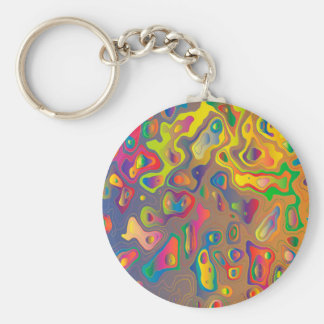 Trendy Abstract Colorful Contour Map Basic Round Button Key Ring