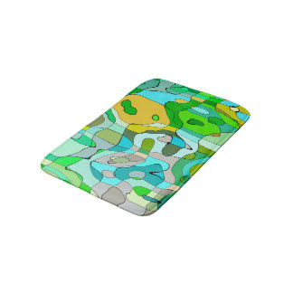 Trendy Abstract Green Contour Background Bath Mats