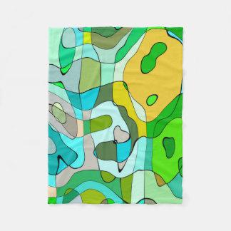 Trendy Abstract Green Contour Background Fleece Blanket