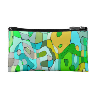 Trendy Abstract Green Contour Background Makeup Bag
