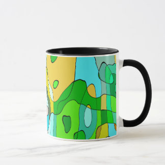 Trendy Abstract Green Contour Background Mug