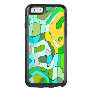Trendy Abstract Green Contour Background OtterBox iPhone 6/6s Case