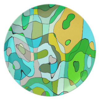 Trendy Abstract Green Contour Background Plates