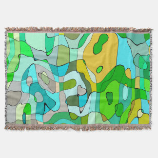 Trendy Abstract Green Contour Background Throw Blanket