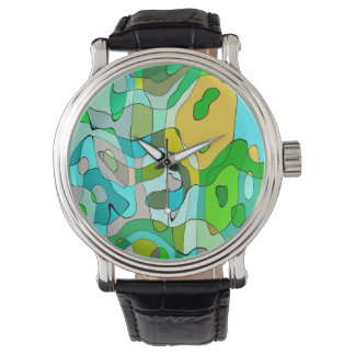 Trendy Abstract Green Contour Background Watch