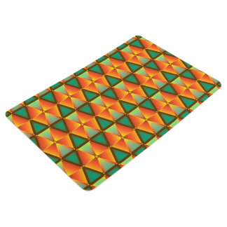 Trendy Abstract Orange And Green Daimond Pattern Floor Mat