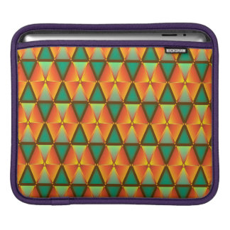 Trendy Abstract Orange And Green Daimond Pattern iPad Sleeves