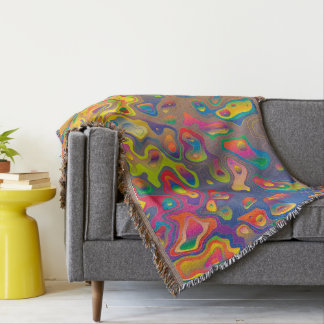 Trendy Abstract Orange And Green Daimond Pattern Throw Blanket