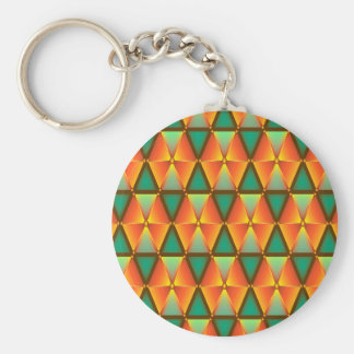 Trendy Abstract Orange And Green Diamond Pattern Basic Round Button Key Ring