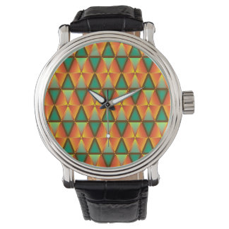 Trendy Abstract Orange And Green Diamond Pattern Wrist Watches