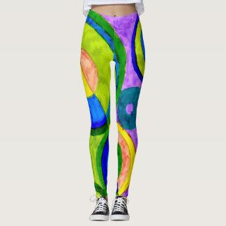 Trendy Abstract Watercolor Circles Leggings