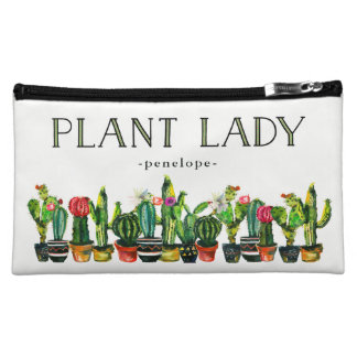 Trendy and Funny Plant Lady with Cactus Makeup Bag