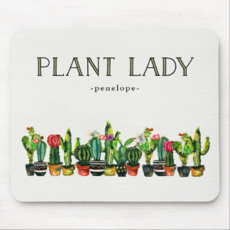 Trendy and Funny Plant Lady with Cactus Mouse Mat