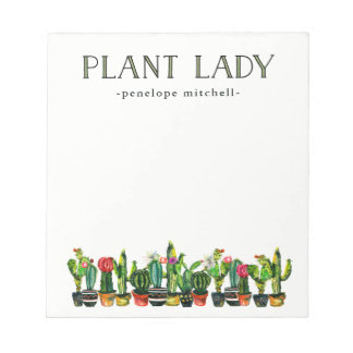 Trendy and Funny Plant Lady with Cactus Notepad
