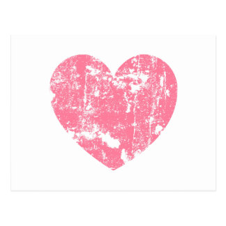 Trendy and Modern Pink Grunge Heart V01 Post Card