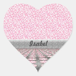 Trendy  animal print glitter dots heart sticker