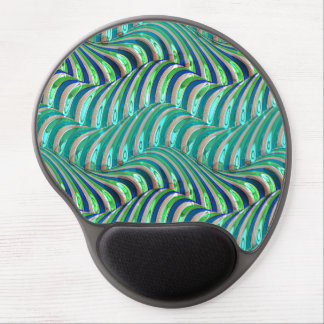 Trendy Aqua Blue Lime Green Waves Swirls Pattern Gel Mouse Mat
