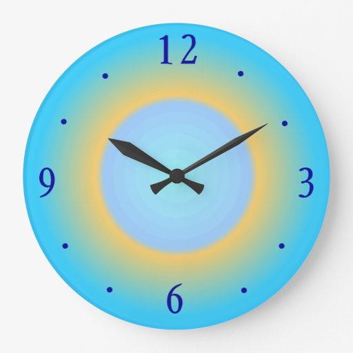 trendy aqua blue yellow modern wall clock zazzle