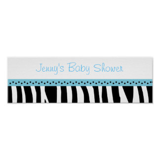 Trendy Aqua Blue Zebra Print Banner Sign