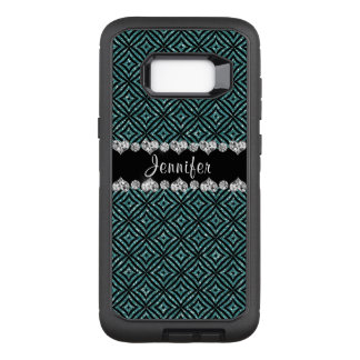 Trendy Aqua Glitter Black Pattern Personalised OtterBox Defender Samsung Galaxy S8+ Case