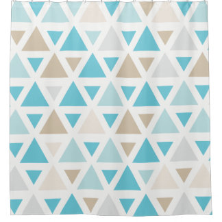 Trendy Aqua teal blue tan triangle pattern bath Shower Curtain
