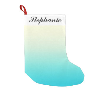 Trendy Aqua Teal to Vintage White Ombre Gradient Small Christmas Stocking