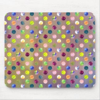 Trendy Artsy Watercolor Painting Polka Dot Pattern Mousepad