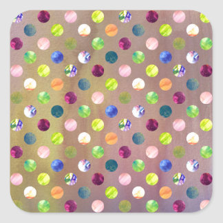 Trendy Artsy Watercolor Painting Polka Dot Pattern Square Sticker