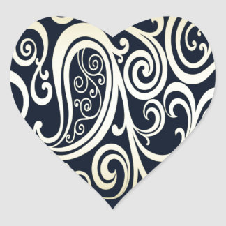 Trendy attractive vintage floral black/gold heart stickers