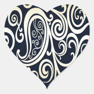 Trendy attractive vintage floral black/gold heart sticker