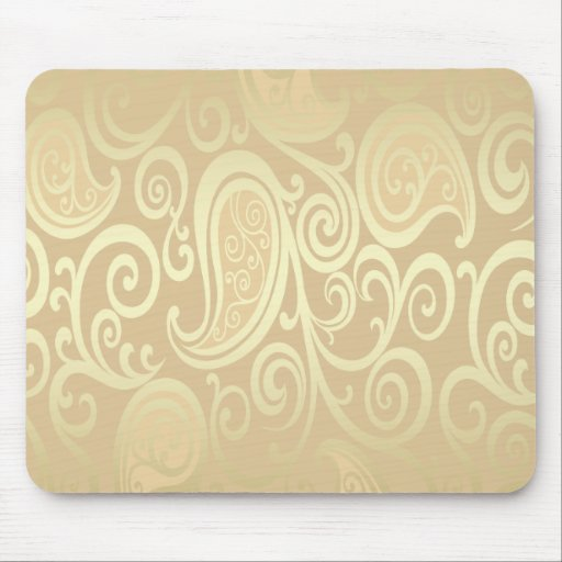 Trendy attractive vintage floral gold mouse pad
