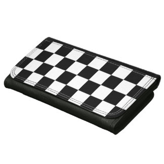 Trendy Auto Racing Plaid Chequered Checkered Flag Leather Wallet For Women