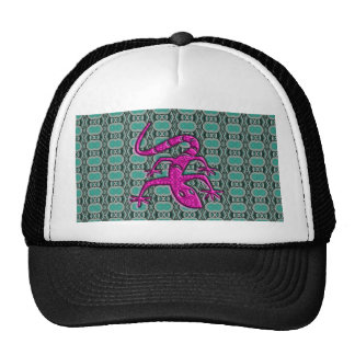 Trendy Aztec Lizzard in Pink and Teal Cap