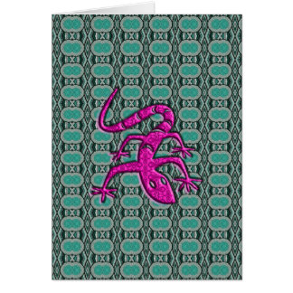 Trendy Aztec Lizzard in Pink and Teal Card