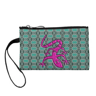 Trendy Aztec Lizzard in Pink and Teal Coin Purse