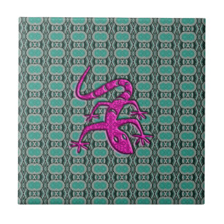 Trendy Aztec Lizzard in Pink and Teal Small Square Tile