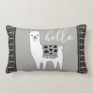 Trendy Aztec Pattern & White Llama Hello. Lumbar Cushion