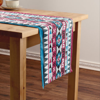 Trendy Aztec Raspberry and Blue Patterned Short Table Runner