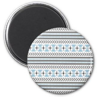 Trendy Aztec Tribal Print Geometric Pattern Aqua 2 Inch Round Magnet