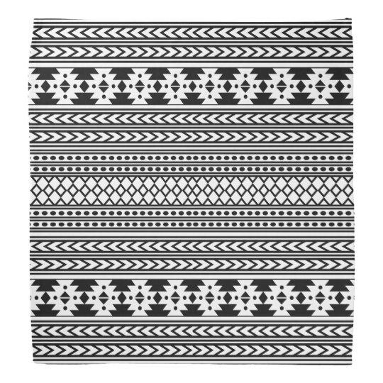 Trendy Aztec Tribal Print Geometric Pattern(Black) Bandannas
