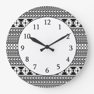 Trendy Aztec Tribal Print Geometric Pattern(Black) Large Clock