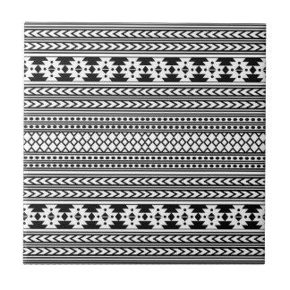 Trendy Aztec Tribal Print Geometric Pattern(Black) Ceramic Tile