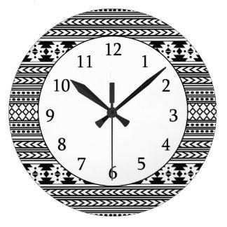 Trendy Aztec Tribal Print Geometric Pattern(Black) Wall Clock