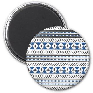 Trendy Aztec Tribal Print Geometric Pattern Blue 6 Cm Round Magnet