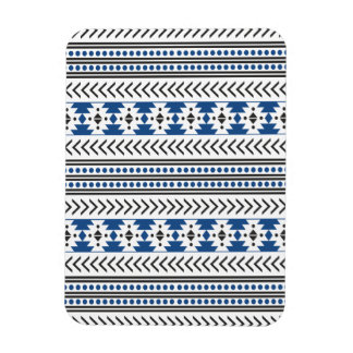 Trendy Aztec Tribal Print Geometric Pattern Blue Rectangular Photo Magnet