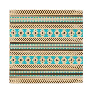 Trendy Aztec Tribal Print Geometric Pattern Blue Maple Wood Coaster