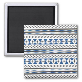 Trendy Aztec Tribal Print Geometric Pattern Blue Square Magnet