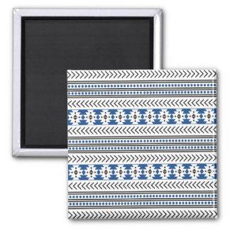 Trendy Aztec Tribal Print Geometric Pattern Blue Square Magnet