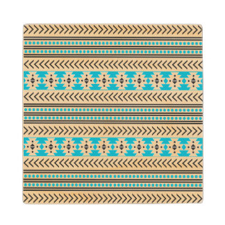 Trendy Aztec Tribal Print Geometric Pattern Blue Wood Coaster